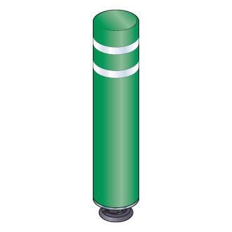 48 in. Green Gorilla Post Magnetic Bollard with 2 White Reflective Stripes, Add On Kit