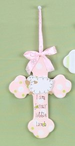 Young's Jesus' Little Lamb Hanging Wood Cross, Choice of Pink