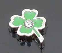 - Four Leaf Clover / Irish / Shamrock with Rhinestone Floating Locket Charm / Add to Your Origami Locket