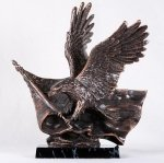 StealStreet SS-BA-DC1556 Bronzed Bald Eagle Holding American Flag with Wings Outspread Statue by StealStreet