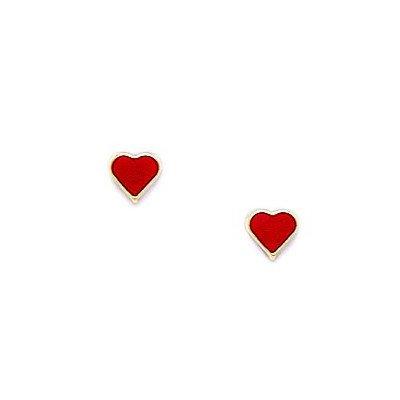 14 Karat Gelbgold Emaille Rot Herz Schraubverschluss Ohrringe, 5 x 5 mm-JewelryWeb
