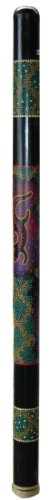 Bamboo Blue Gecko Didgeridoo, 4 feet long, with primitive painted Aboriginal Gecko design in blue. Made in Bali. From our Bamboo Didgeridoo and Musical Instruments Collections.