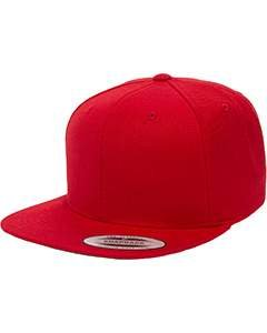 Classic Visor - Yupoong 6089 6-Panel Structured Flat Visor Classic Snapback - Red - One Size