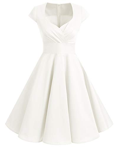 Bbonlinedress Women Short 1950s Retro Vintage Cocktail Party Swing Dresses Off White XL