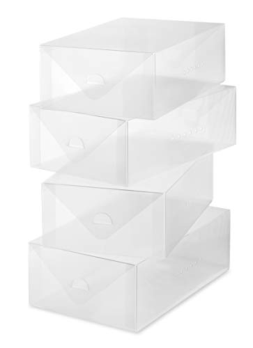 men's Shoe Box - Heavy Duty Stackable Shoe Storage - (Set of 4) ()
