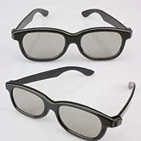 Kakooze 2 Pair Black Adults Passive Circular Polarized Lens 3D Glasses for LG Panasonic Sony TVs Monitor