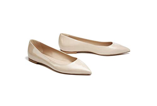 Bella Marie Angie-53 Women's Classic Pointy Toe Ballet Slip On Flats Shoes (7.5, Nude Patent Vegan)