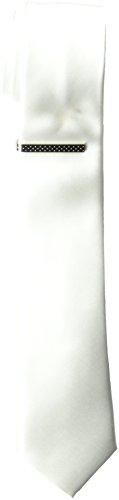 Nick Graham Men's Solid Satin Slim Tie Clip, White, O/S