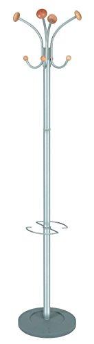 Alba Stily Floor Coat Stand with Umbrella Holder, 4 Knobs/4 Hooks, Metallic Gray and Wood (PMVIENA)