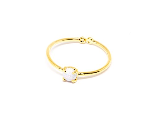 - adjustable mid knukcle toe cute gemstone opal round circle ball ring a11
