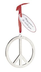 "Set of Six (6) Beautiful 3"" Metal PEACE SIGN Christmas Tree ORNAMENTS/HOLIDAY Decor/PEACE SYMBOL w/hanger"