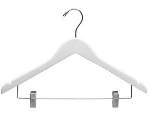 Wooden Combo Hangers w/Clips White Box of 50 by The Great American Hanger Company by The Great American Hanger Company