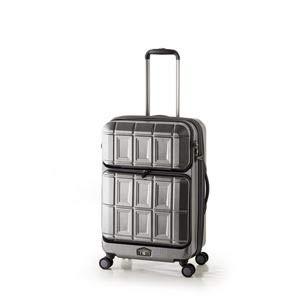 スーツケース 【マットブラッシュブラック】 拡張式(54L+8L) ダブルフロントオープン アジアラゲージ 『PANTHEON』   B07PKSPXD1