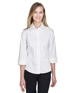 Devon & Jones Ladies' Three-Quarter-Sleeve Stretch Poplin Blouse, XX-Large, White Devon And Jones Cotton Shirt
