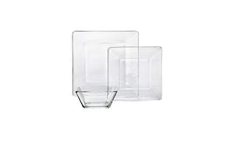 NEW 12-Piece Square Glass Dinnerware Set (Plates Square Glass Clear)
