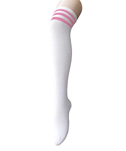 Century Star Women Athletic Over Knee Socks Striped Thigh High Stockings Cosplay Warmer Legging Socks White And Pink]()