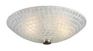 Elk 10139/2WHT Fusion 2-Light Semi-Flush In Satin Nickel and White Mosaic Glass (Flush Semi Ceiling Mission Fixture)