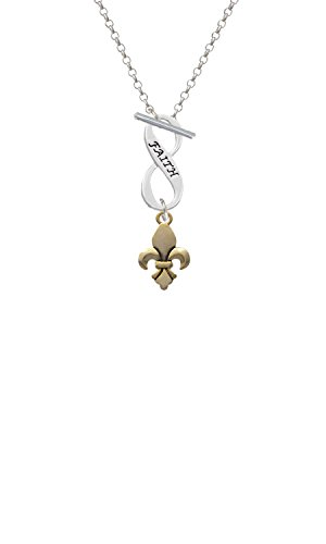 Goldtone Fleur de Lis Faith Infinity Toggle Chain Necklace ()