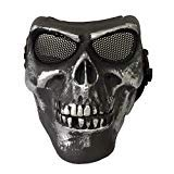 JAG JustBBGuns Airsoft Tactical Metal Eye Mesh Skull Mask Iron Silver Black]()