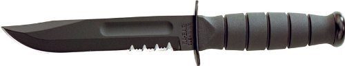 (KA-BAR Knives, Inc Ka-Bar Short Black Fixed Serrated Blade Knife Short Black, Ser w/Leather Sheath 1257 )