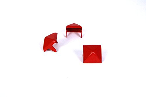 Pyramid Studs - Size 13 - Ideally used for Denim and Leather Work - Classic Two-Prong Studs - Available in Red Color - Pack of 100 studs and spikes ()