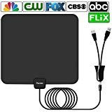 Antenna,Pacoso 75 Mile Range Amplified TV Antenna with Detachable Amplifier Signal Booster,2018 New Version Digital Antenna Local Broadcast 4K/HD/VHF/UHF Signal TV Channels for Smart Television
