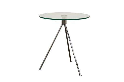 (Baxton Studio Triplet Round Glass Top End Table with Tripod Base)