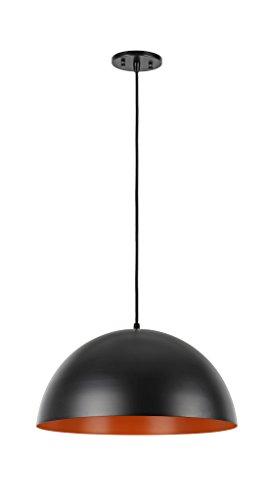Aspen Creative 61040-2 Adjustable 1 Light Hanging Pendant Ceiling Light, Transitional Design in Matte Black Finish, Metal Dome Shade, 17 3/4