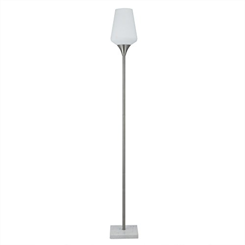 CO-Z LED Floor Lamp, Mid-Century Brushed Nickel Modern Pole Lamp for Nightstand Bedside Reading, Bright Uplight Light with Stable Marble Base and Opal Tulip Frosted Glass Shade