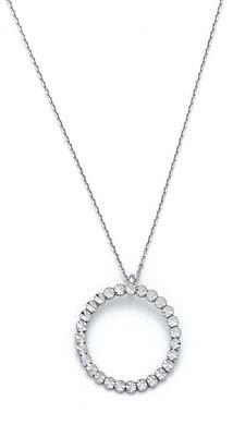 Or blanc 14carats Diamant imitation Rough Cercle Pendentif