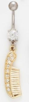 Golden Color IP Hair Comb with Clear Rhinestone Paved Handle Dangle Belly Button Navel Ring