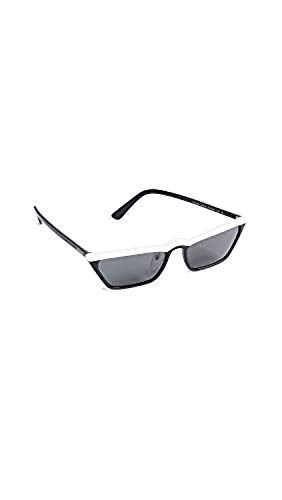 (Prada Women's PR19US Ultravox Skinny Narrow Sunglasses, White/Grey, One Size)