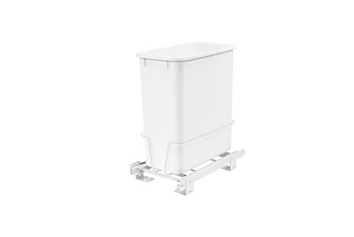 Rev-A-Shelf - RV-814PB - Single 20 Qt. Pull-Out White Waste Container with Adjustable - Bin Waste Mounted Side