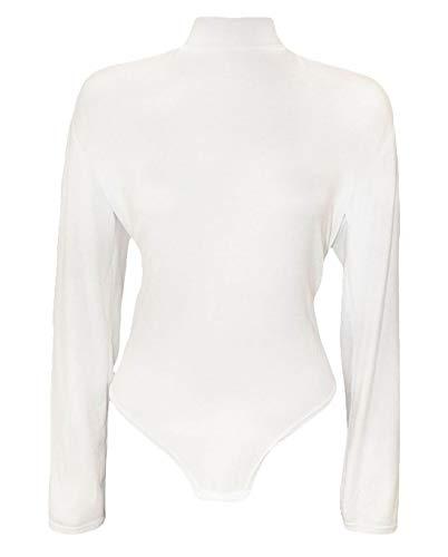 Maniche Donna Tuta Top Collo Islander Fashions Fancy Alto Tartaruga A S3xl Look Con Body Lunghe White Da Plain VSMzqpU