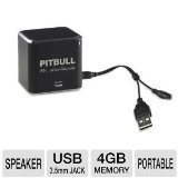 Pitbull RockDoc Power 1-Way Portable MP3 Speaker with 4GB Memory - Black