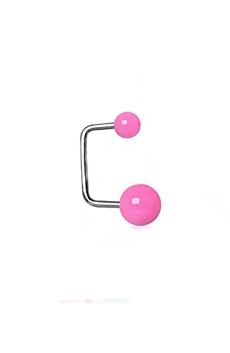 Nose Ring Bling 316L Surgical Steel Ear Cartilage Earring with Black UV Acrylic Balls 18G ()