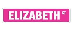 ELIZABETH Street Sticker Sign kid room childrens name gift kid child boy girl wall entry - Sticker Graphic Personalized Custom Sticker Graphic - Boy Street Sign