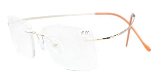 (Eyekepper Titanium Rimless Reading Glasses Readers Men Gold +2.0)