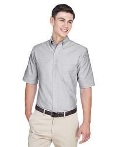 UltraClub Men's Classic Wrinkle-Free Short-Sleeve Oxford(Charcoal) (XLarge)