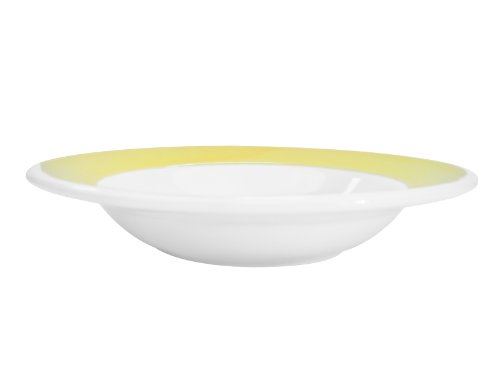 CAC China R-3-YELLOW Rainbow Rolled Edge 8-3/4-Inch Yellow Stoneware Rim Soup Plate, 12-Ounce, Box of 24 by CAC China