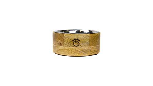 Brave Bark GF Pet Mango Wood Dog Bowl – Removable Stainless Steel Insert, Dishwasher Safe, Food or Water Bowl for Dog…