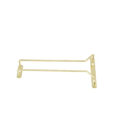 Brass Glass Hanger Rack - Winco GH-10, 10-Inch Brass Plated Wire Glass Hanger Rack, Single Channel Bar Glass Holder, Stemware Rack