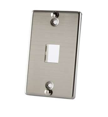 Ortronics TracJack 1-Port Stainless Steel Wall Phone Plate OR-403STJ1WP