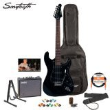 Sawtooth ST-ES-BKB-KIT-3 Black Electric Guitar with Black Pickguard - Includes Accessories, Amp, Gig Bag and Online Lesson