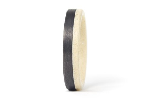 Women's Raffia corian and carbon fiber ring. Unique flat wedding band. Water resistant, very durable and hypoallergenic. (02201_4N) -