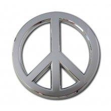 Emblem Metal Sign - Peace Sign Premium Chrome Metal Auto Emblem