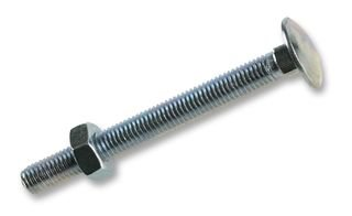 Zinc Plated Coach / Carriage Bolts with Nuts M10 10mm x 150mm (Pack of 10 Cup Square Bolts)
