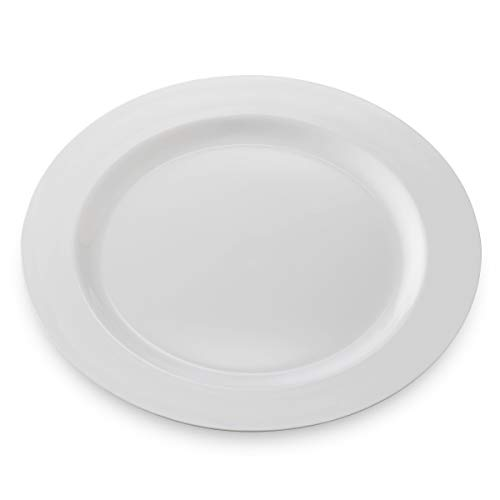 50 Disposable White Plastic Dessert Plates | 7 Inch Premium Heavy Duty Disposable Dinnerware with Real China Design | Safe & Reusable and Great for Parties or Weddings. (50-Pack) by Bloomingoods