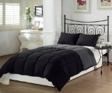 Alternative Comforter - Chezmoi Collection 2-Piece Super Soft Goose Down Alternative Reversible Comforter Set, Twin X-Large, Black Grey