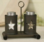 Pennsylvania Star Salt and Pepper Shakers with Caddy by Star pattern